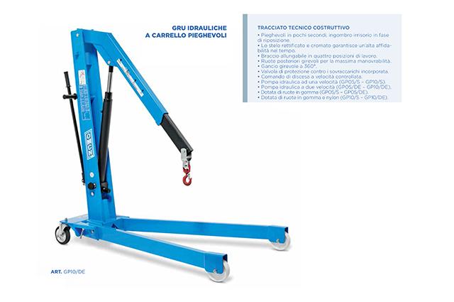 Gru idraulica a carrello pieghevole GP10/S